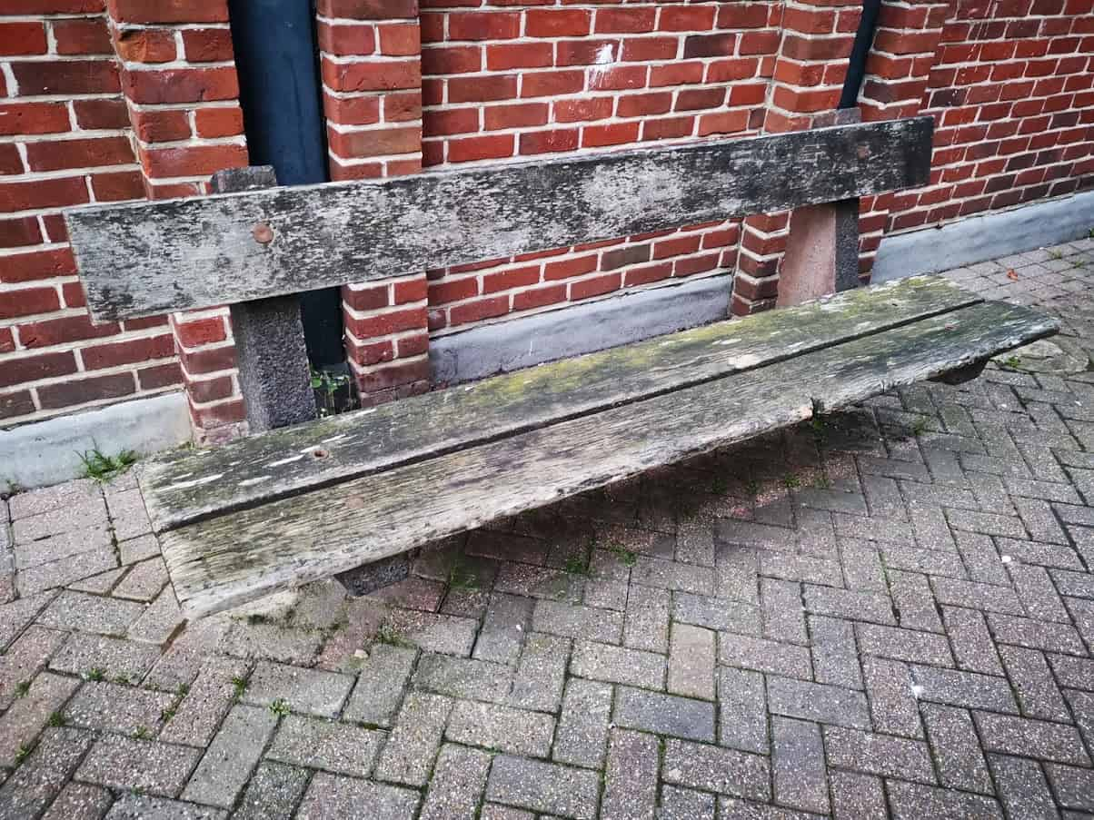 an old bench in the town
