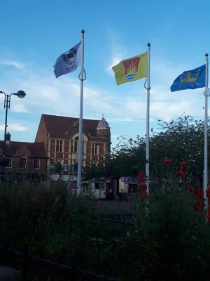 Image of the Suffolk Flag flying on the Market Square Haverhill