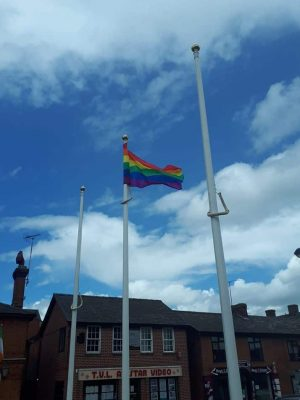 Haverhill flying the Pride flag on the Market Square